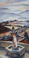 LUBERON FOUNTAIN IN WINTER - 80x40
