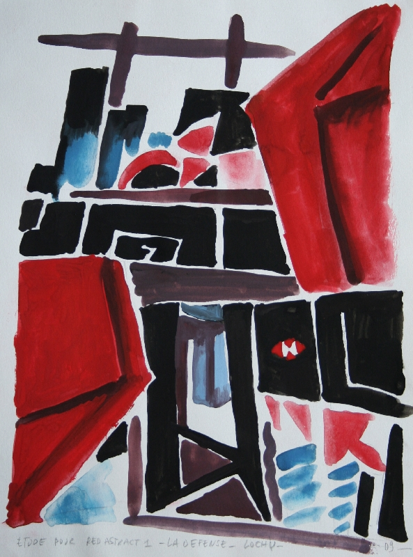RED ABSTRACT A LA DEFENSE - 21x29