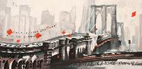 TRAFFIC LENT MAIS FLUIDE SUR LE PONT DE BROOKLYN - 120x60